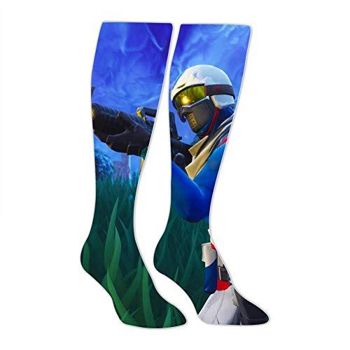 PIHJE Socks Long 50cm Shooting Hero_Fortnite Fashion High Socks for Women & Men Novelty Knee High Thigh Stockings Length 19.7Inch