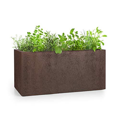 blumfeldt Solid Grow Rust - Vaso per Piante, Materiale: Fibreclay, Protezione da UV & Gelo, Resistente alle Intemperie, per Ambienti al Chiuso e all Aperto, Color Ruggine, 80x38x38 cm (LxAxP)