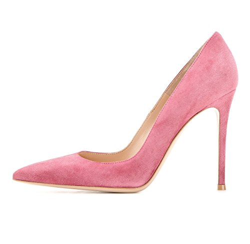 Soireelady Damen Pumps | Spitze Stiletto High Heels | Moderne Pumps Pink Suede 37