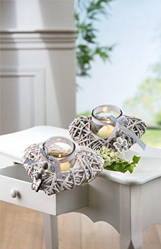 GILDE 1 x Windlicht Holz Weide grau m. Glas Schmetterling/Herz Breite 26 cm, Tischdeko, Heart, Liebe (rechts beige (Stückpreis))