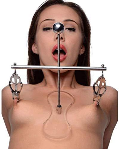 SM Brustreizungsspielzeug Edelstahl Spreizclip Nippelclip und Klitorisclip, Nippelclip mit Ständer, männliche und weibliche Erotik