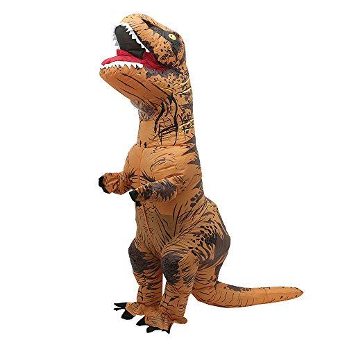 Dinosaurier Kostüm Aufblasbar Kinder Kostüm Aufblasbar Halloween Karneval Party Dino Kostüm Halloween Cosplay Weihnachtsspiel Cosplay Geschenk Kleid für Männer Frauen Halloween (Braun, Erwachsene)