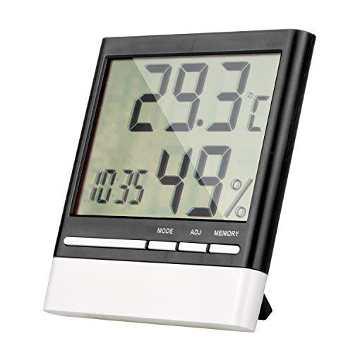 ZWOOS Higrómetro Termómetro Digital Interior, Pantalla LCD Clara, Monitor de Humedad Preciso con Reloj Despertador, Temperatura Humedad Estación Meteorológica