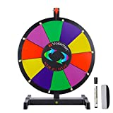 Voilamart 15' Tabletop Spinning Prize Wheel, Spin The Wheel Dry Erase, 10 Slots with Durable Plastic Base, 2 Pointer, Wheel of Fortune Spin Game in Party Pub Trade Show Carnival