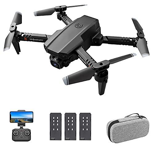 GoolRC LS-XT6 RC Drone con Cámara 4K Drone Cámara Dual Track Vuelo Sensor de Gravedad Gesto Foto Video Altitud Modo sin Cabeza RC Quadcopter para Adultos Niño (4K Cámara Doble, 3 Batería)