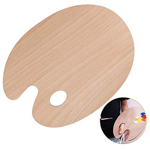 NETUME Mischpalette Farben für Ölfarben Acrylfarben Aquarell, 30x25cm Holz Palette mit Daumenloch, Glatte Leichte Ovale Holzpalette, L Size