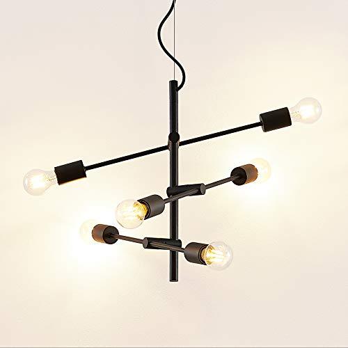 Lámpara colgante 'Estar' (Vintage) en Negro hecho de Metal e.o. para Salón & Comedor (6 llamas, E27, A++) de Lindby | lámpara colgante, lámpara colgante, lámpara, lámpara de techo, lámpara de techo
