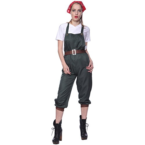 Fashoutlet WW2 1940s Land Girl Costume World War 2 Wartime Uniform Fancy Dress Green