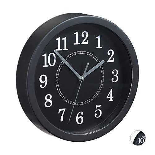 Relaxdays 10024285_46 Horloge murale ronde, 20 cm, Petite pendule à accrocher au mur, design classique, piles, noire, plastique, métal, One size