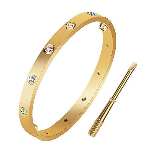 XYZONE Pulsera para amor de oro amarillo con piedra colorida de titanio acero inoxidable brazalete de tornillo con destornillador, pulseras para San Valentín, bodas y parejas