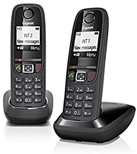 """Gigaset AS405 Duo - Teléfono Inalámbrico, Pack de 2 Unidades, Manos Libres, 100 Contactos, Pantalla gráfica iluminada 1.8"""", Letra tamaño grande, Color Negro"""