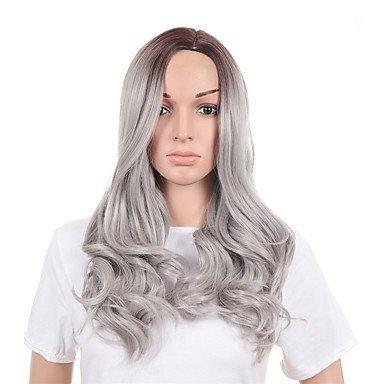 Js-wigs Body Wave Cheveux synthétiques Gris Perruque femme long Naturel des Perruques sans capuchon