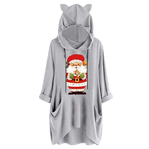 LOPILY Weihnachtskleid Damen mit Rudolph Puschelnase Druck Locker Lustig Shirtkleider Große Größen Umstand Langärmelige Sweatkleider Winter Weihnachtskleider Festliche Kleider Monochrom (Schwarz, 38)