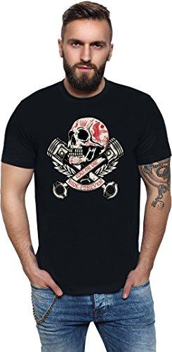 King Kerosin Skull and Pistons Regular T-Shirt Schwarz Kolben Totenkopf Skull Motor Biker XL