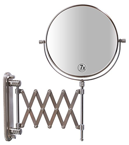 DecoBros 8-Inch Two-Sided Extension Wall Mount Mirror with 7x Magnification, 13.5-Inch Extension,...