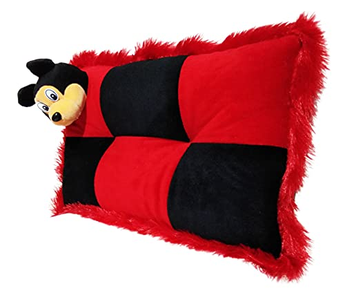 Anita Corporation Baby Pillow :: Organic Velvet Cartoon Head Shaping Pillow for Infants and Toddlers (0M to 5 Yr) - Unisex || 3D Mesh Structure || Kids Pillow for Boy/Baby Girl - 12 x 18-inches, Black&Red