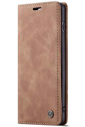 Handyhülle, Premium Leder Flip Schutzhülle Schlanke Brieftasche Hülle Flip Hülle Handytasche Lederhülle mit Kartenfach Etui Tasche Cover für Samsung Galaxy,Samsung Galaxy S10,Hellbraun