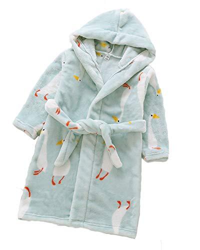 Kinder Bademantel mit Kapuze Badetuch Kapuzenhandtuch Drucken Flanell Schlafanzug für Mädchen Jungen 3-8 Jahre Goose 100CM