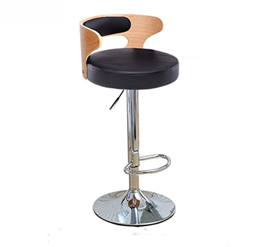 Ali@ chaise de bar Chaise de bar orientable élégante chaise de bar Chaise de montée Tabouret de bar chaise de dossier en bois massif Chaises de réception Tabouret haut (Couleur : NOIR)