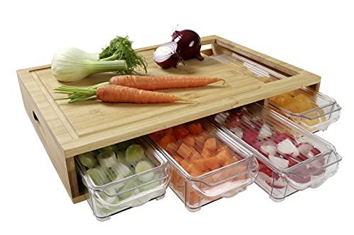 Multi-Schneidebrett mit 4X Auffangschalen & Deckeln,Schwere Ausführung Extra großes Profi-Küchenbrett-Set (XXL) aus Bambus-Holz mit Saftrille