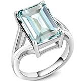 SRJEWELS 14k White Gold Plated 925 Sterling Silver 3.00 Ct Emerald Cut Simulated Aquamarine Solitaire Engagement Women's Ring9.5