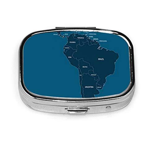 Mittel- und Südamerika Karte Pille Box Quadrat Metall Pille Fall Zwei-Fach-Tasche Medizin Drug Tablet Medizin Lagerung