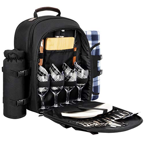 Sunflora Picnic Backpack for 4 Person Set Pack with Insulated Waterproof Pouch for Family Outdoor Camping (Black)