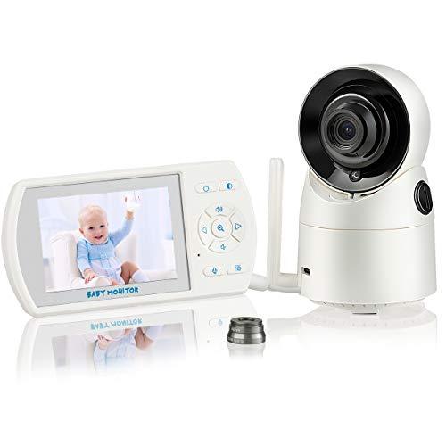 COSTWAY Moniteur pour Bébé Sans Fil Caméra Babyphone Caméra avec Ecran ACL Numérique 3,5' pour Surveillance,VOX,Vision Nocturne Infrarouge Audio Bidirectionnel,Portée de 300 m, Objectif Grand Angle