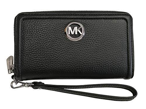 Michael Kors 2019 Fulton Large Flat Pebble Leather Phone Case Wristlet Silver Black
