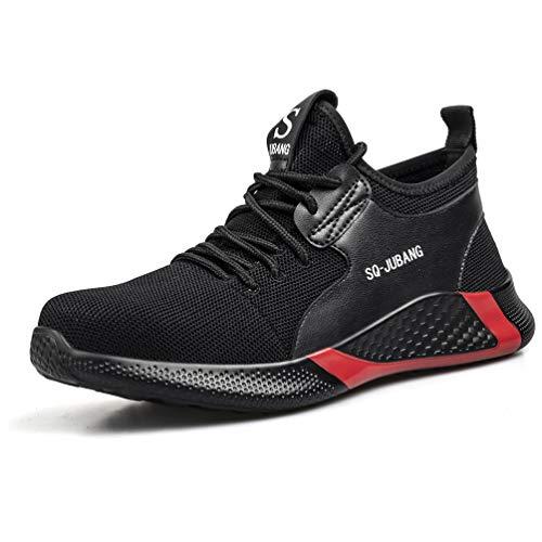 AFFINEST S1 Sicherheitsschuhe Herren Damen Arbeitsschuhe Schutzschuhe mit Stahlkappe Sportlich Atmungsaktive Schwarz Industrie & Handwerk Sneaker 45
