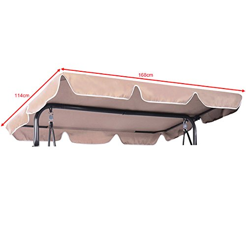 CASART 2 & 3 Seater Garden Swing Top Cover, Outdoor Patio Balcony Hammock Chair Canopy Roof Replacement (115 x 170cm)