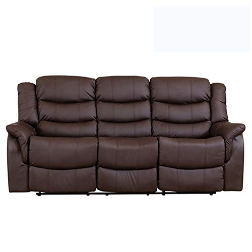 Sofa- Collection Andalucia Leather Reclining Suite - 1/2/3 seat recliners available in multiple combinations - Black/Brown/Burgundy/Cream/Grey - (3 Seat Recliner, Brown)