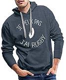 Je Peux Pas J'Ai Rugby Sweat-Shirt à Capuche Premium pour Hommes, M, Bleu Jeans