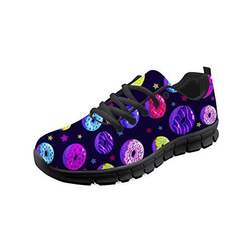 HUGS IDEA Elegante Damen-Sneakers Leichte Atmungsaktive Multicolor Donut Printed Gym Athletic Fitness Workout Laufschuhe - Größe: EU 42