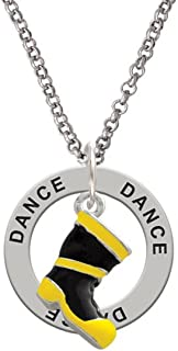 Black and Yellow Firefighter Boot - Dance Affirmation Ring Necklace