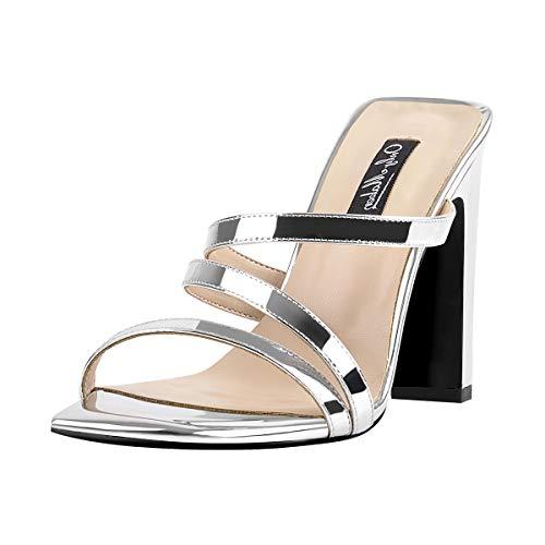 Only maker Frauen High Heels Pantoletten Eckige Sandalen Riemchen Sandaletten mit Blockabsatz Silber 40 EU