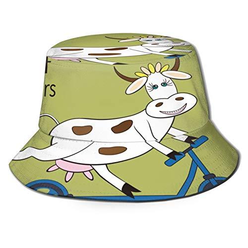 Yoliveya Sombrero de Pesca,Scooter de Montar a Caballo de Vaca de Divertidos Dibujos Animados,Senderismo para Hombres y Mujeres al Aire Libre Sombrero de Cubo Sombrero para el Sol
