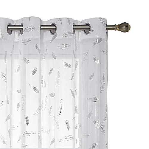 Deconovo Visillos para Ventanas Efecto Lino Cortina Traslúcida Voile para Dormitorio Salón Balcón 2 Piezas 140 x 245 cm Blanco Diseño Pluma