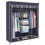 Meerveil Kleiderschrank Höhe 175cm, Stoffschrank Faltschrank Garderobe mit 2 Kleiderstange, 3 hochrollbaren Türen 175cm*110cm*45cm, Grau