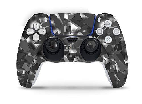Skins4u Design Aufkleber Skin Wrap Folie für Sony Playstation 5 Controller PS5 DualSense Skins Schutz Folie Shattered Black Grey