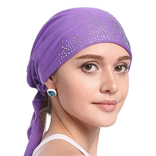 YONKINY Pañuelo la Cabeza Mujer Elástico Elegent Turbante Musulmán Para Quimio Pérdida de Pelo Bandana Cancer Headwear Hairband Sombrero Quimioterapia