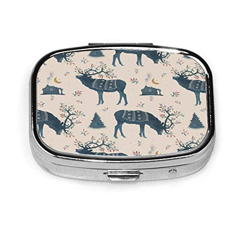 Square Pill Case with 2 Compartment,Small Pill Case Portable for Pocket Purse, Travel Pills Box Watercolor Scandinavian Reindeer Forest House Wild Berries Branches Moss Crescent