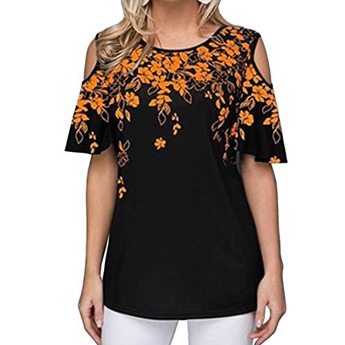 DOLAA Tops Blusas Tipo túnica con Estampado Floral Camisetas Manga Larga Camisas holgadas Pullover Tops con Hombros Descubiertos Blusas con Hombros Descubiertos Túnica Larga Informal Floral al Azar