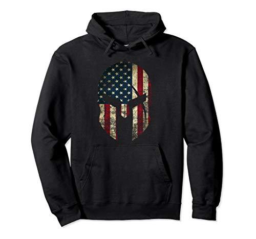 American Pride Spartan Helmet USA Flag Pullover Hoodie Pullover Hoodie