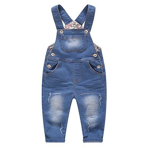 Kidscool Baby & Little Jungen Mädchen Blau & Schwarz Denim Overall - Blau - 3-4 Jahre