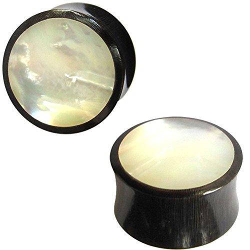 Chic-Net Buffalo Horn Plug Parelmoer Inlay wit handgesneden Lobe Piercing Flesh Tunnel Organic Expander Tribal zwarte oorbel | Double Flared Earplug schelp | Unisex oorplug mannen vrouwen