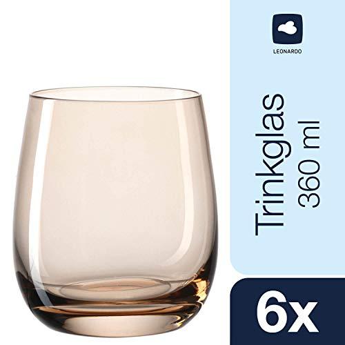 Leonardo Sora Becher klein Marrone, 6-er Set, 360 ml, hellbraunes Kristall-Glas mit Colori-Hydroglasur, 018194