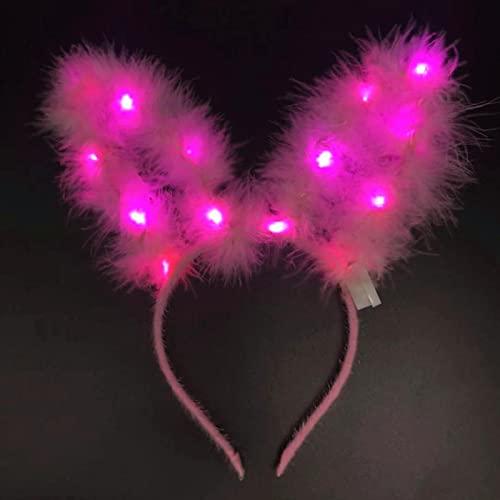 MLOPPTE Navidad,Diadema con luz LED para Mujer, Diadema con Orejas de Conejo Iluminado, Diadema Brillante para el Pelo para la Cabeza de Fiesta de Vacaciones 04