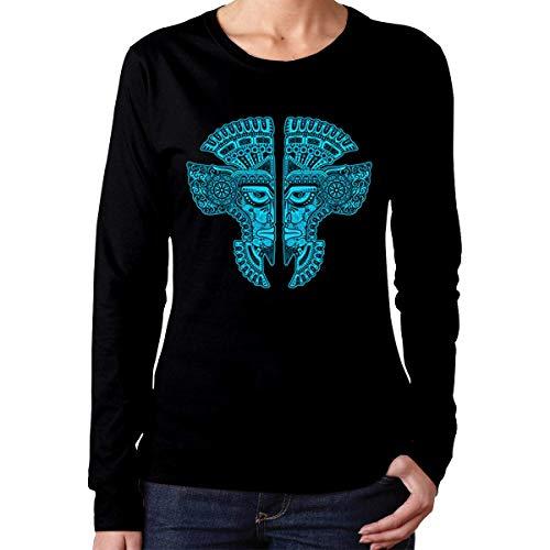 shenguang Maschera Gemelli Maya Blu e Nera T-Shirt da Donna con Taglio Classico a Maniche Lunghe Girocollo in Cotone con Grafica