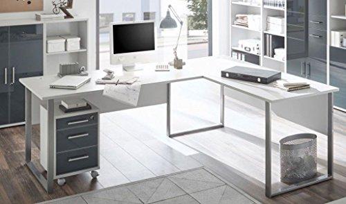 moebel-dich-auf Winkelschreibtisch Eckschreibtisch Schreibtisch mit Rollcontainer Office LUX in lichtgrau Glas Graphit Lack